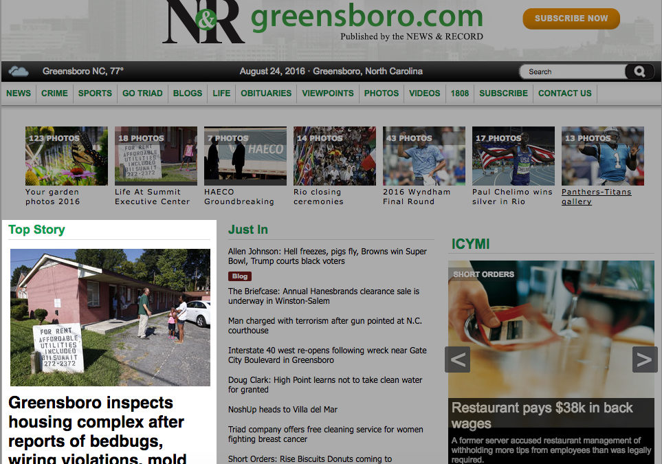 Greensboro News & Record: Greensboro inspects housing complex after reports of bedbugs, wiring violations, mold