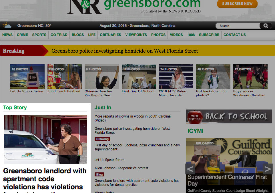 Greensboro News & Record: Greensboro landlord with apartment code violations has violations for dental practice