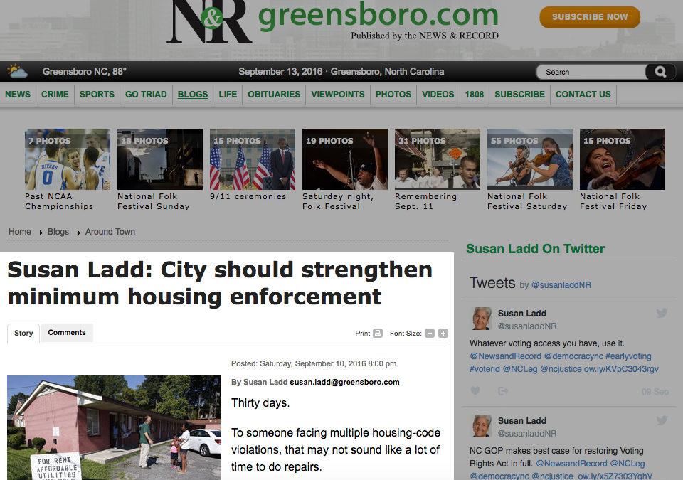 Greensboro News & Record's Susan Ladd: City should strengthen minimum housing enforcement