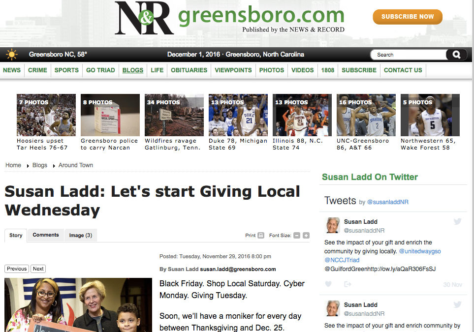 Susan Ladd: Let's start Giving Local Wednesday