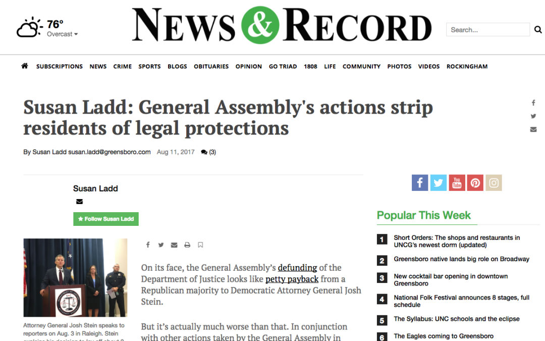 Susan Ladd: General Assembly's actions strip residents of legal protections